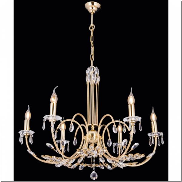 Klassischer Design Kristall Deckenlüster   Sechs Flammig   Messing 24k  Vergoldet Mit Aktuellem Design Von Royalleuchten.de