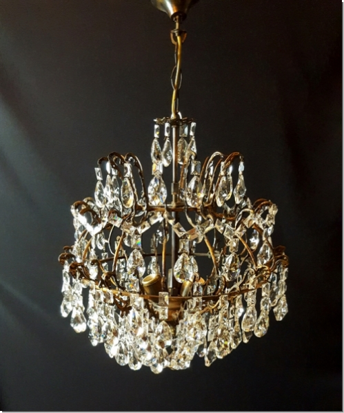 sg200 bleikristall k fig kronleuchter l ster antik messing ebay. Black Bedroom Furniture Sets. Home Design Ideas