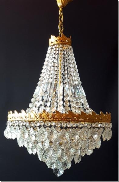 Klassischer Design Kristall Deckenlüster - sechs flammig - Messing ...