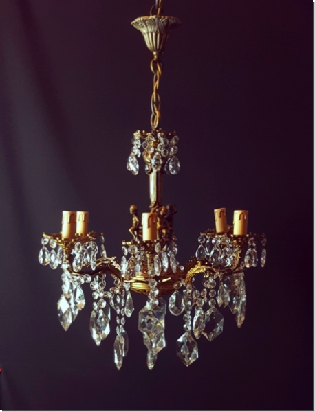 sg239 kronleuchter mit bleikristall 6 armig l ster korbl ster kristallampe ebay. Black Bedroom Furniture Sets. Home Design Ideas