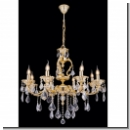 A1031 –royal chandelier with leaf-shaped crystal design / gold(24 carat)-plated brass