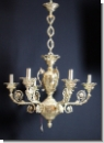 A31 New, antique style, 6-armed, ceilinglamp chandelier from brass, 24 carats gilds Brass, the lamp chain and shells are also gilt froom 24 carats