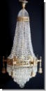A33 Exclusive single piece chandelier / Basket chandelier brass bronze with high quality lead crystal chandeliers, chandeliers, at least 100 years old