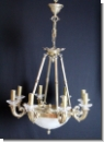 A 34 Chandelier 8-armed from brass with high quality lead glass, cover candlestik, chandelier,Ceiling chandelier