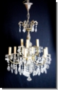 A36 Chandelier from brass with high-yuality lead glass, cover candlestick, chandlier, 9-armed, ceiling lamp chandelier