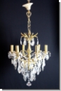 A37 Chandelier from brass with high-yuality lead glass, cover candlestick, chandlier, 6-armed, ceiling lamp chandelier