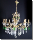 A38 Chandelier from brass with high-yuality lead glass, cover candlestick, chandlier, 8-armed, ceiling lamp chandelier