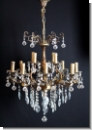 A39 Chandelier ENGEL from brass with high-yuality lead glass, cover candlestick, chandlier, 12-armed, ceiling lamp chandelier