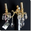 A 44 Wall chandelier, wall applike from brass 24 carats gilds with high-yuality lead glass, cover candlestick, chandlier, 2-armed