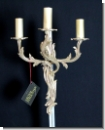 A 45 Wall chandelier, wall applike from brass 24 carats gilds with high-yuality lead glass, cover candlestick, chandlier, 3-armed