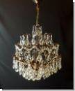 SG200 - Lead crystal cage chandeliers , chandeliers , antique brass